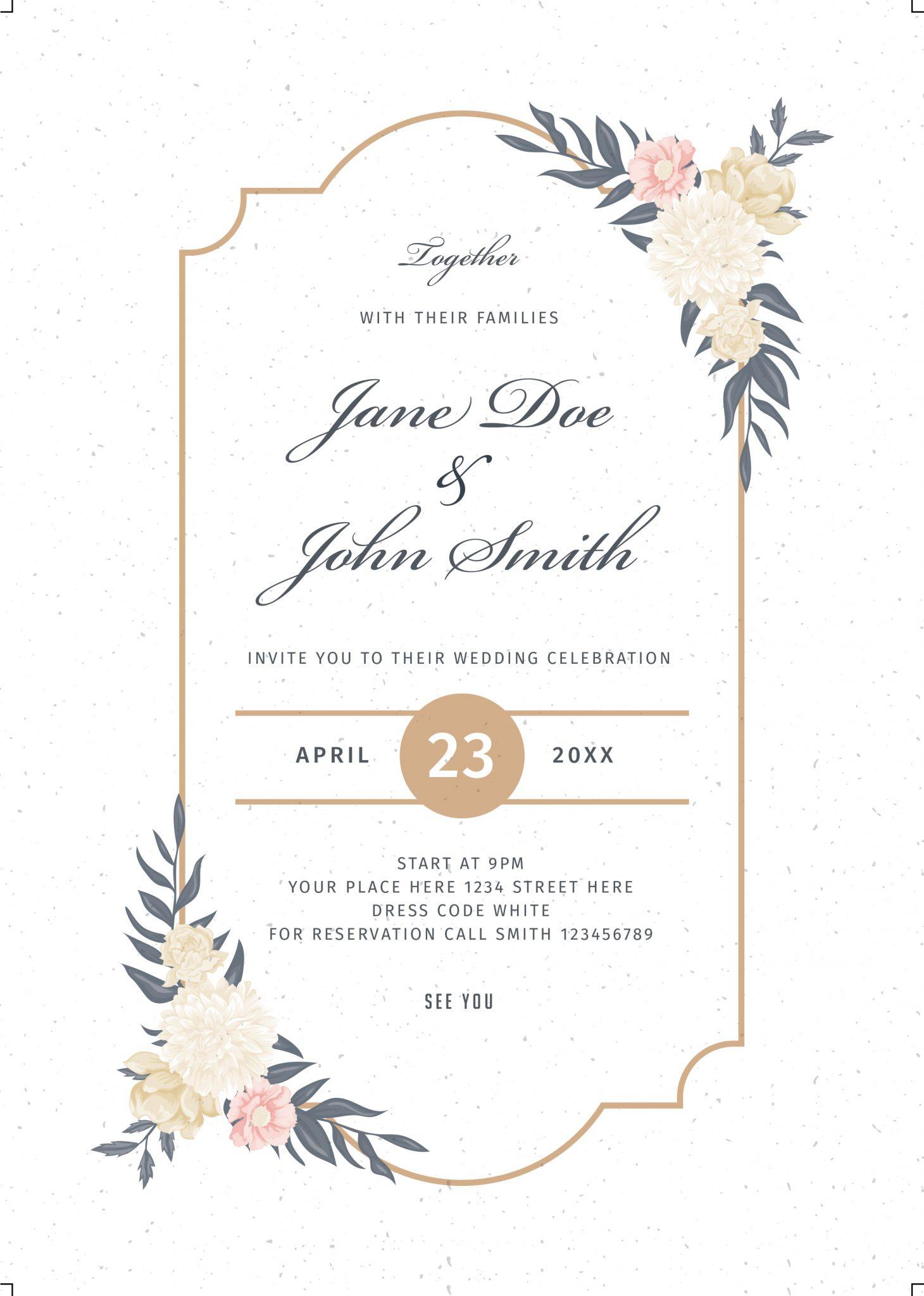 Floral Wedding Invitations.Floralwedding Invitation Bnr Graphics